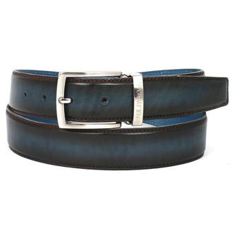 PAUL PARKMAN Men's Leather Belt Dual Tone Brown & Blue (ID#B01-BRW-BLU)