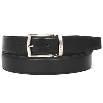 PAUL PARKMAN Men's Leather Belt Hand-Painted Black (ID#B01-BLK)