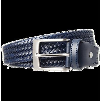 34 Mm Fine Weave Leather Belt Navy