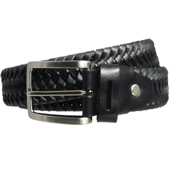 34 Mm Leather Elastic Weave Belt Black
