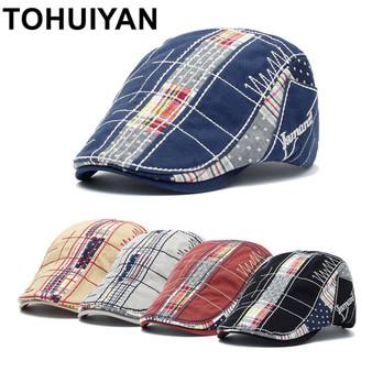 TOHUIYAN 2020 Plaid Cotton Newsboy Cap Men Casual Ivy Hat Duckbill Visor Cabbie Hats Summer Gorras Planas Flat Cap for Women Hat