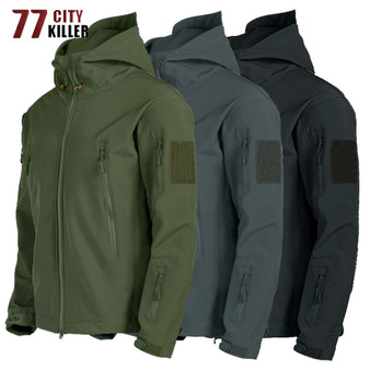 Tactical Shark Skin Soft Shell Jacket Men Military Windproof Waterproof Army Combat Mens Jackets Hooded Bomber Coats Male S-3xl