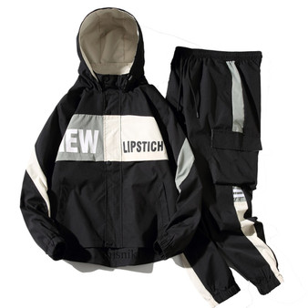 Men's Tracksuit Man Two Piece Set Sweatsuit Polyester Overalls Leisure Suit Hooded Jackets and Hip Hop Harlan Pants