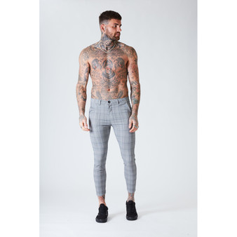 Skinny Cropped Check Trousers - Grey