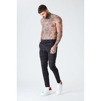 Luxe Check Trousers - Black
