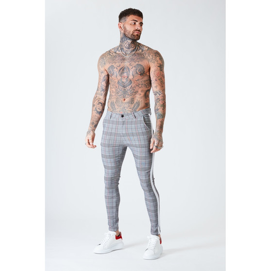 Skinny Check Trousers With White Stripe - Grey