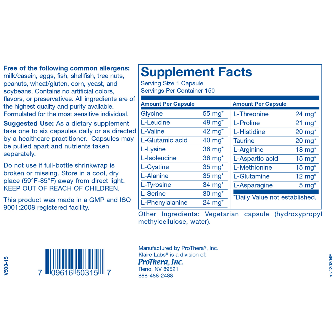 Klaire Labs Amino Acid Complete 150 vcaps ingredients