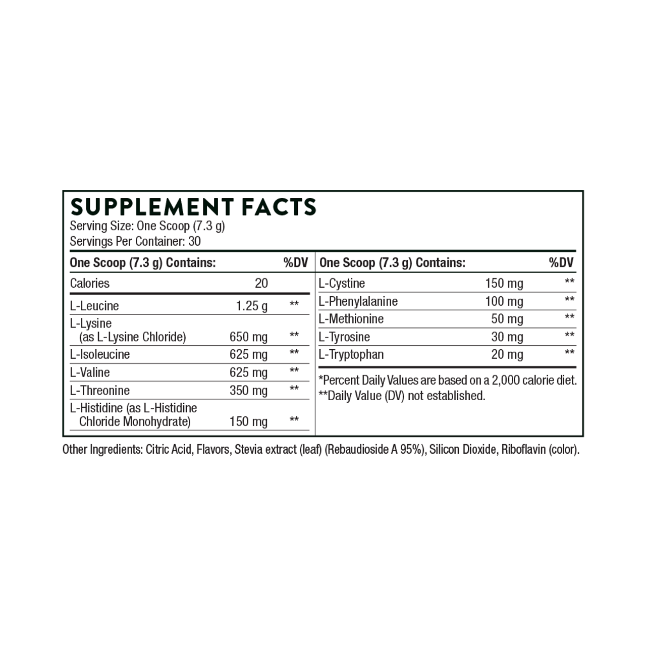 Thorne Research Amino Complex Lemon 7.7 oz Supplement Facts