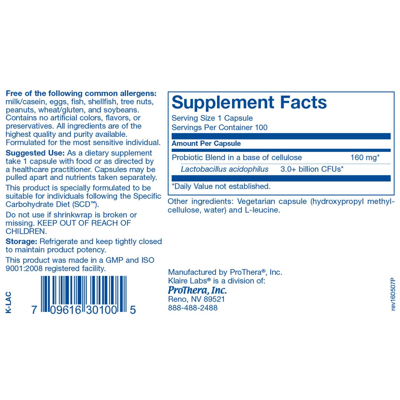 Klaire Labs L-Acidophilus SCD Compliant 100 vegcaps ingredients