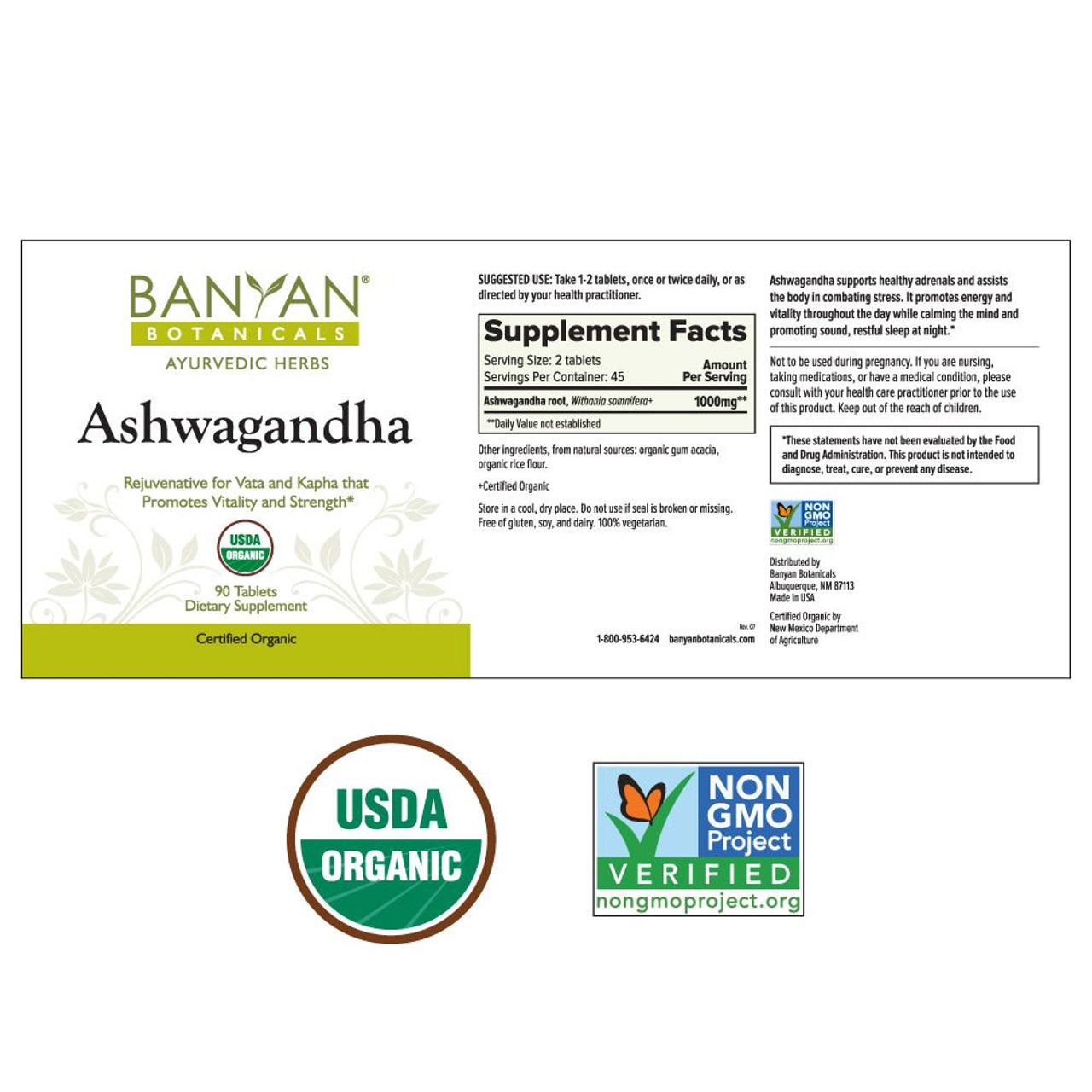 Banyan Botanicals Ashwagandha (Organic) 500 mg ingredients