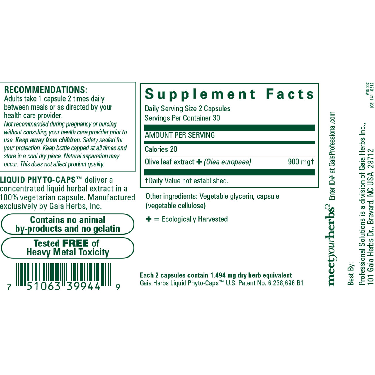 Gaia Herbs Olive Leaf 60 lvcaps ingredients