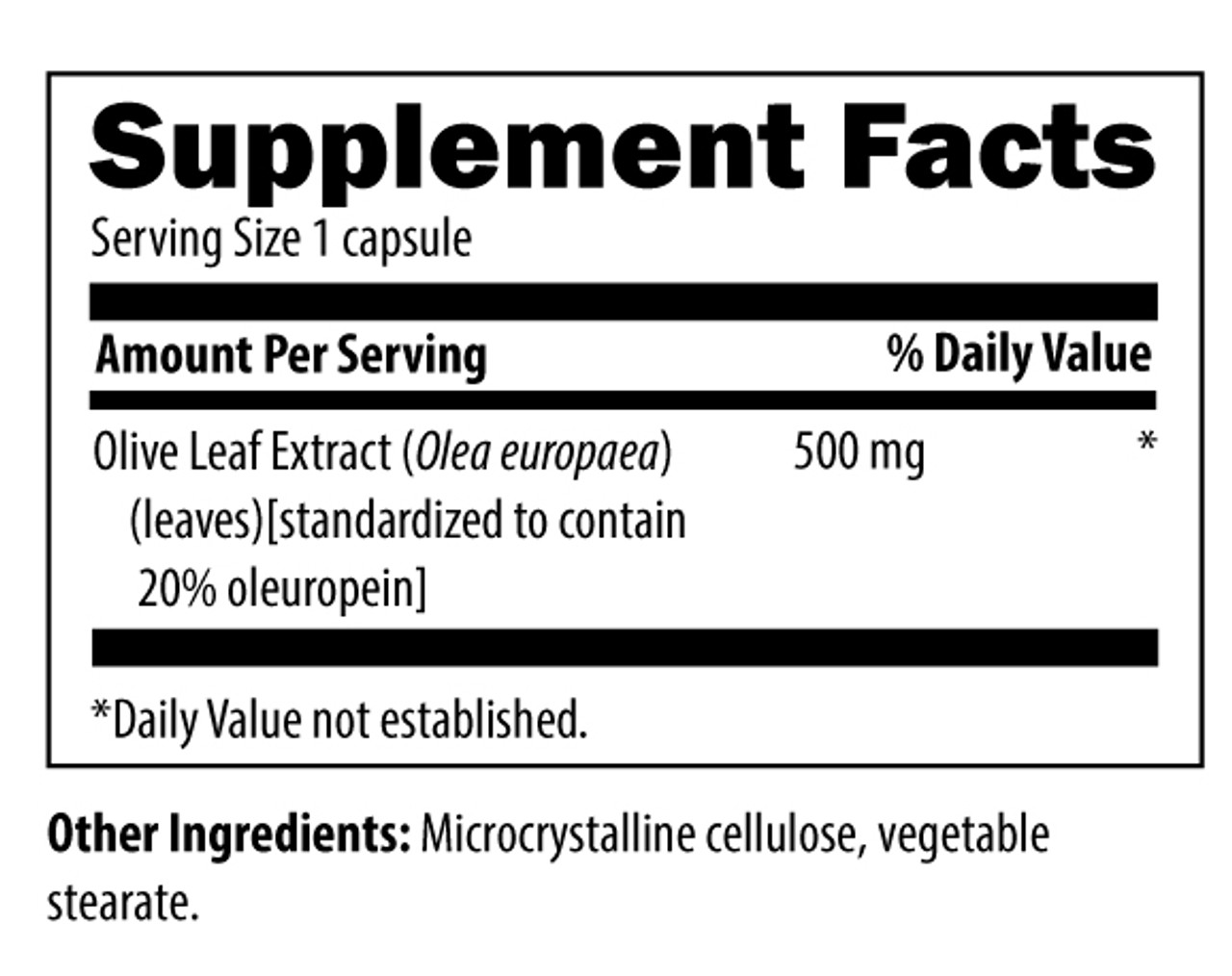 Designs for Health Olive Leaf Extract 500 mg 90 vcaps ingredients