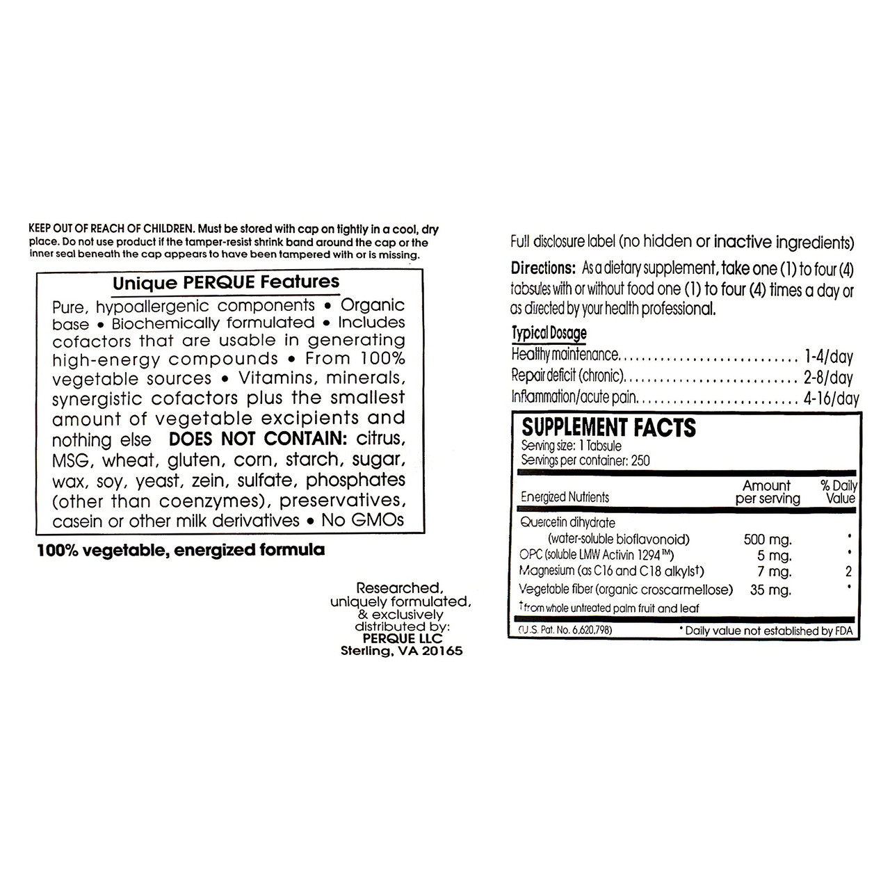Perque Pain Guard Forte 250 tabs ingredients