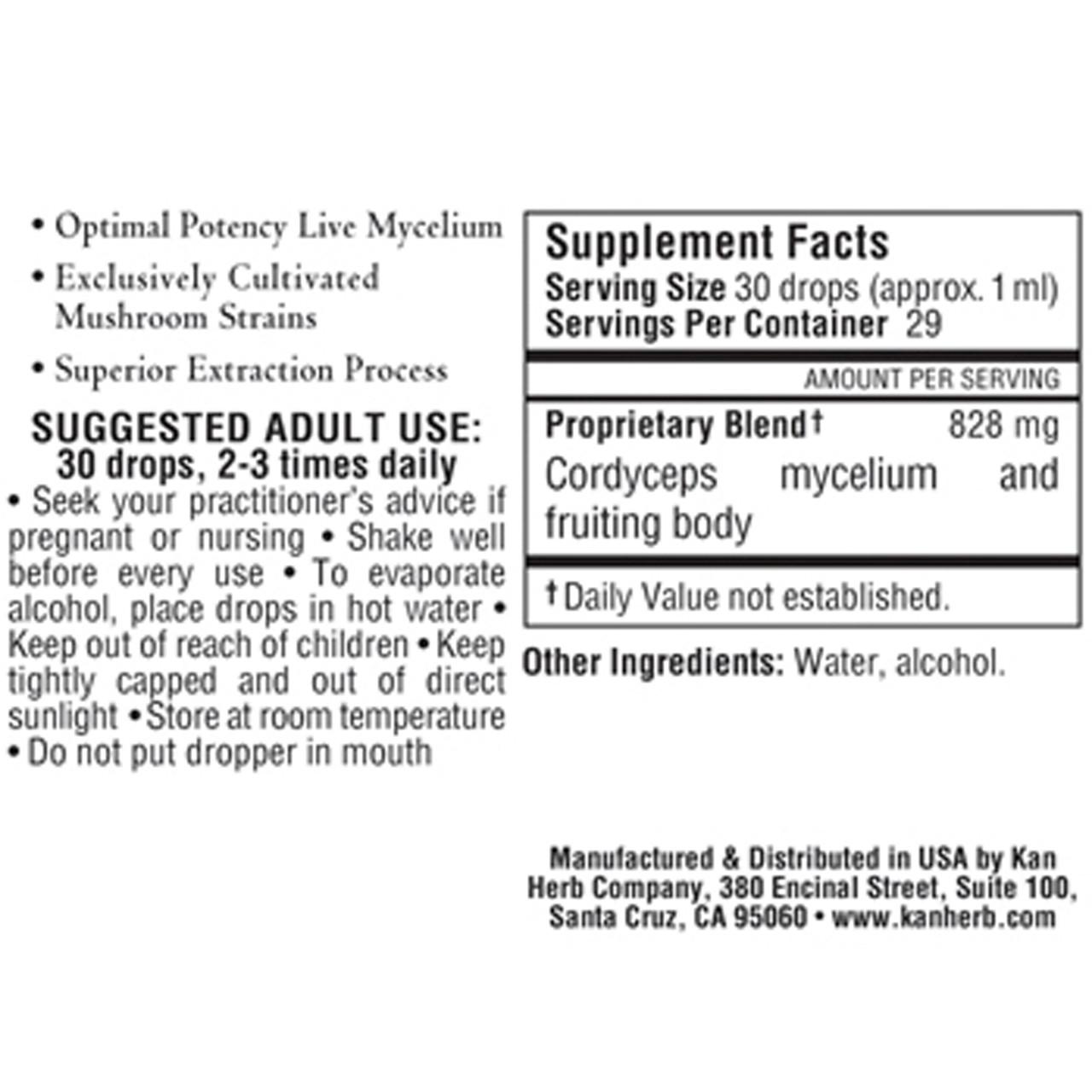 MycoHerb by Kan Cordyceps ingredients