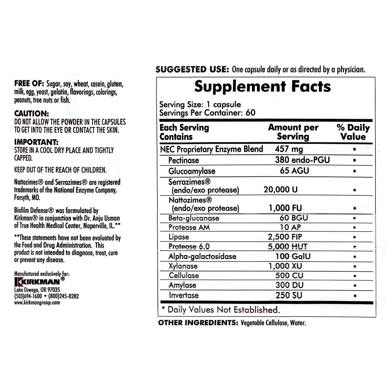 Kirkman Biofilm Defense ingredients