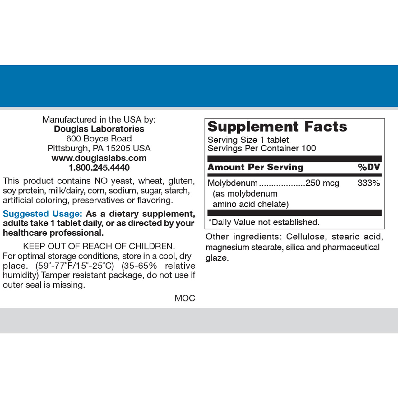 Molybdenum 250 mcg 100 tabs