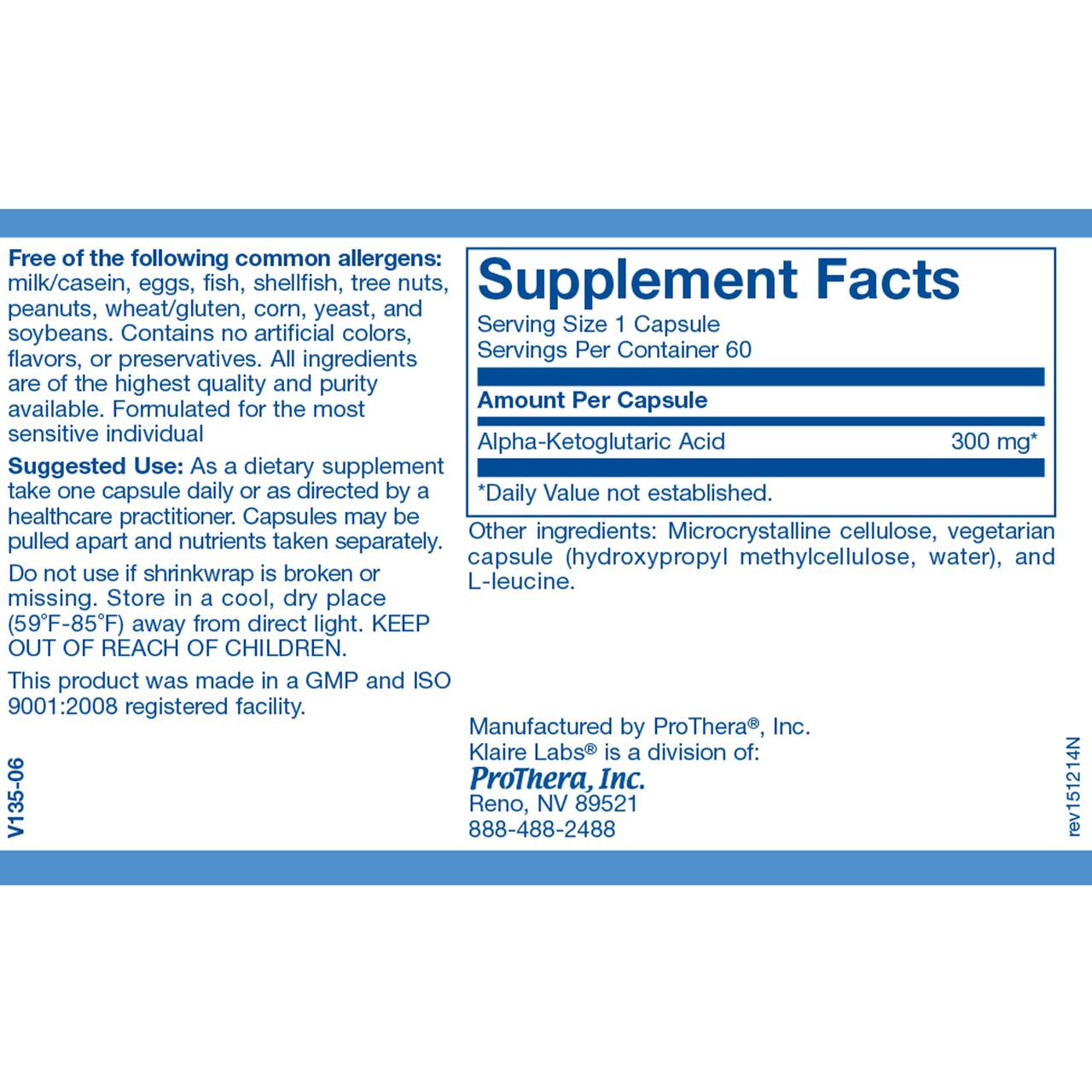 Klaire Labs Alpha-Ketoglutaric Acid 300 mg 60 vcaps ingredients