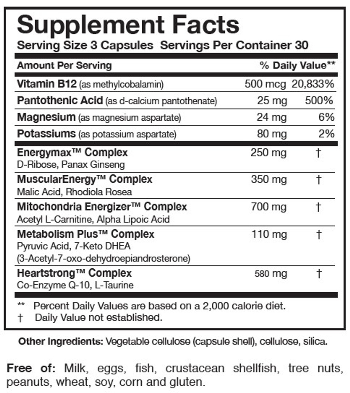 Researched Nutritionals Energy Multi-Plex 90 caps ingredients