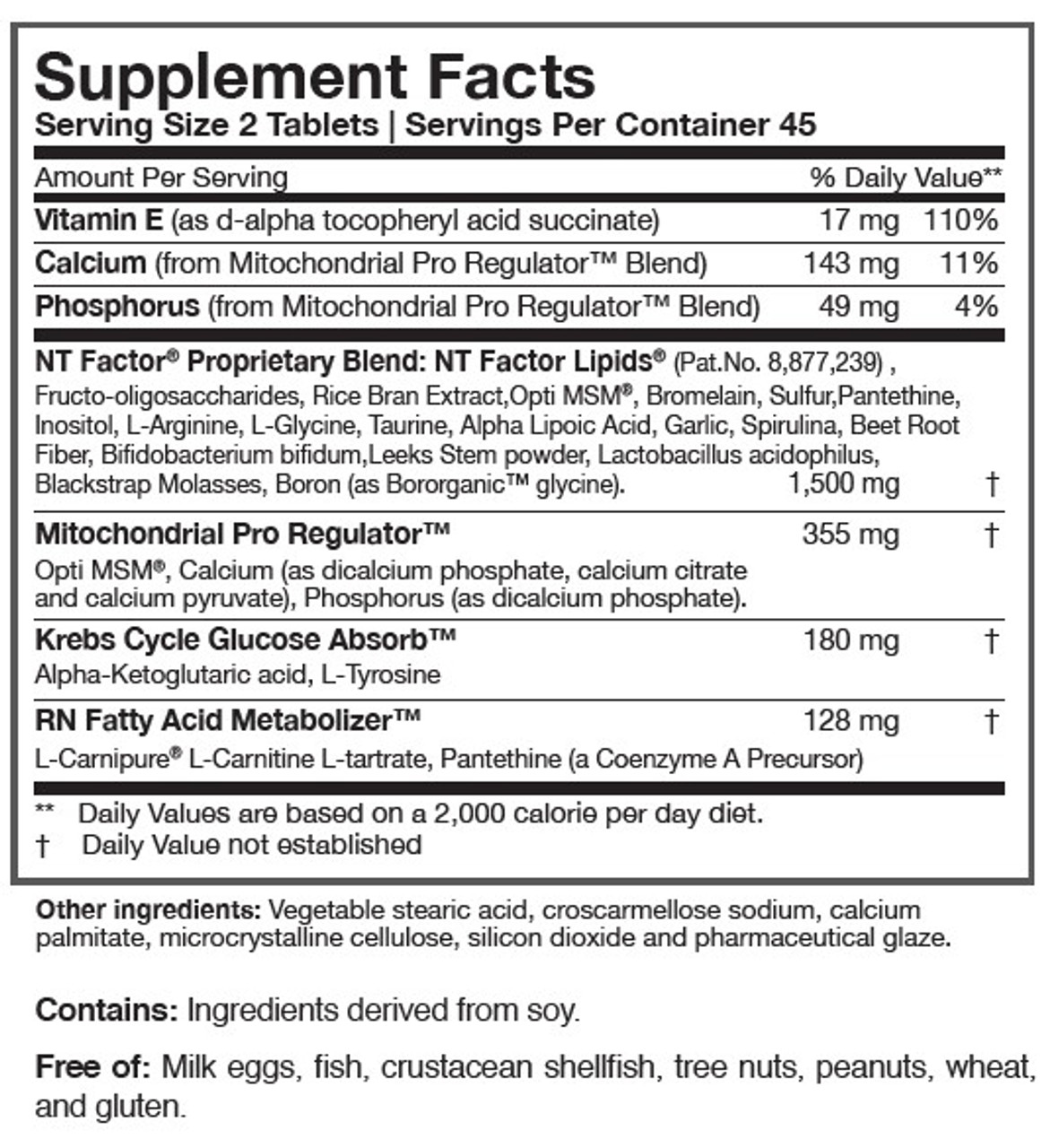 Researched Nutritionals NT Factor Energy Mitochondrial Formula 90 tabs ingredients