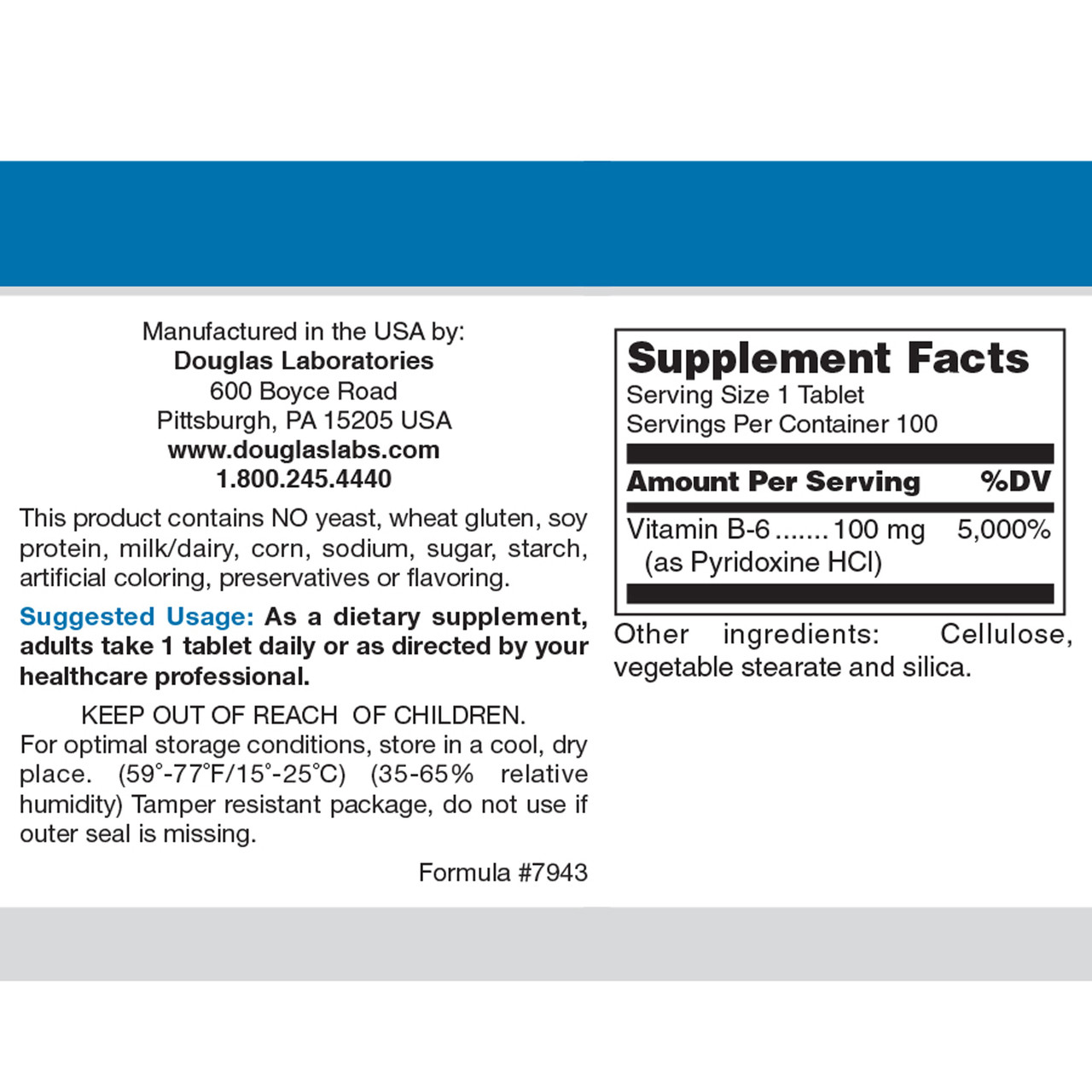 Douglas Labs Vitamin B6 100 mg 100 tabs ingredients