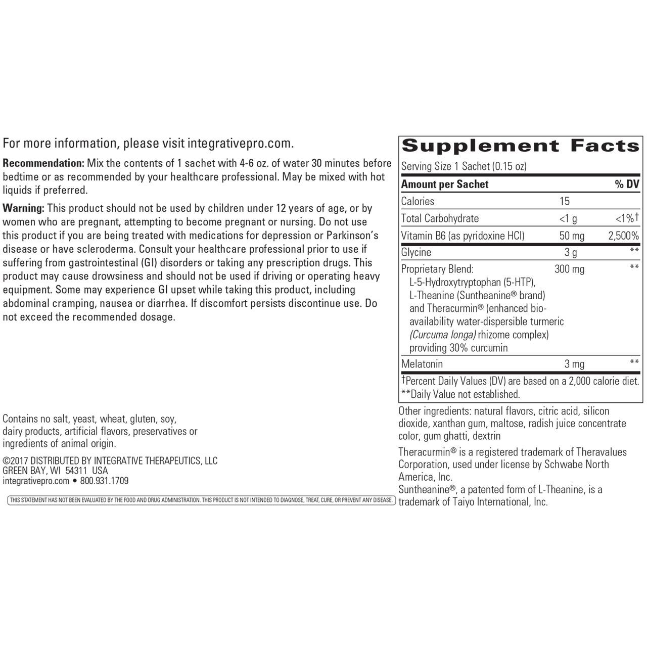 Integrative Therapeutics Sleep Reset Orange Flavored 30 sachets ingredients