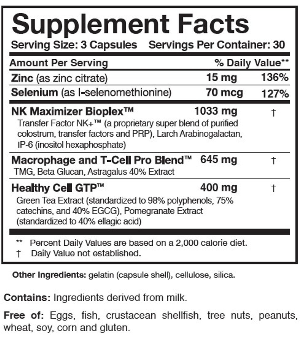 Researched Nutritionals Transfer Factor Multi-Immune (mushroom free) 90 caps ingredients