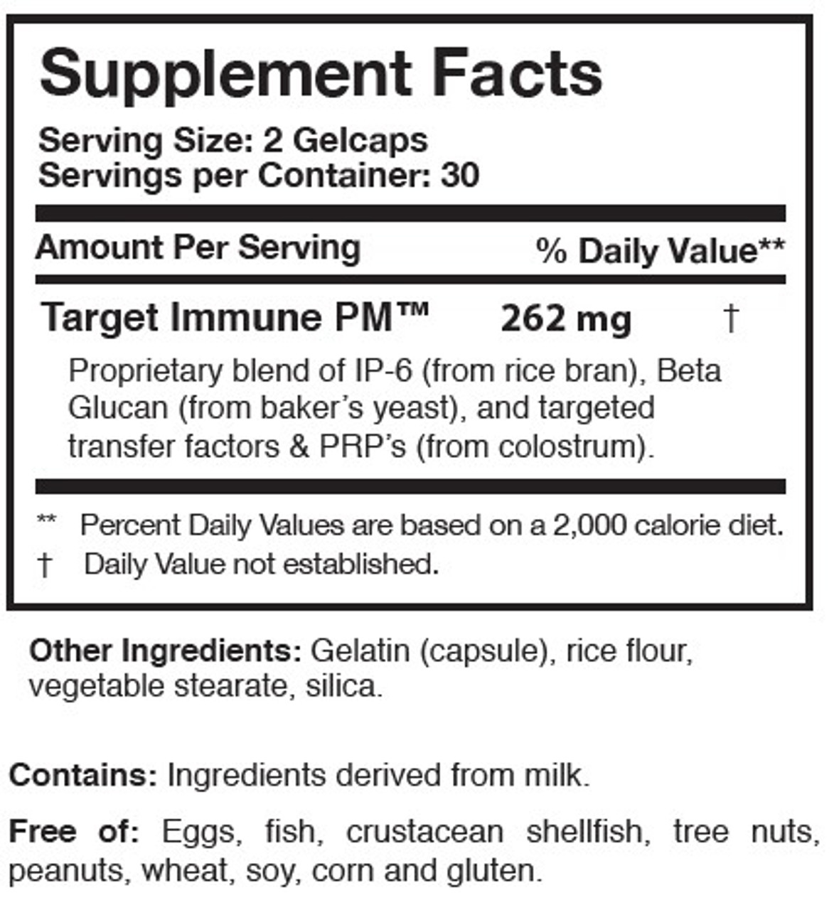 Researched Nutritionals Transfer Factor PlasMyc 60 gelcaps ingredients
