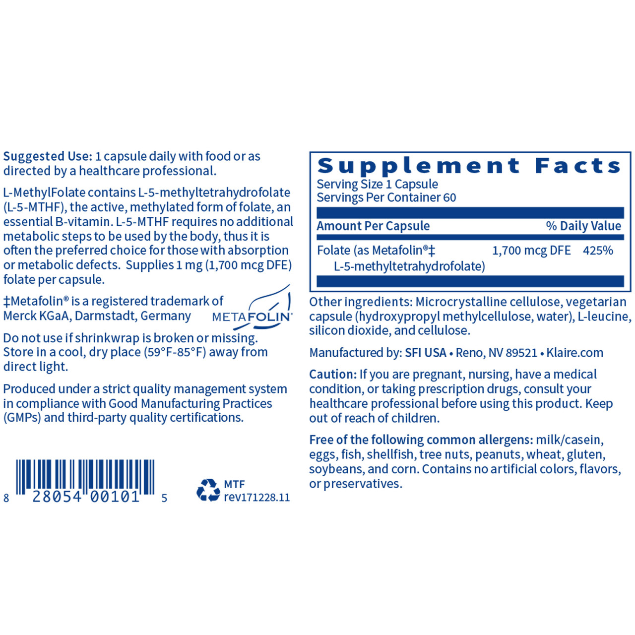 Klaire Labs L-Methylfolate 1,700 mcg 60 caps ingredients