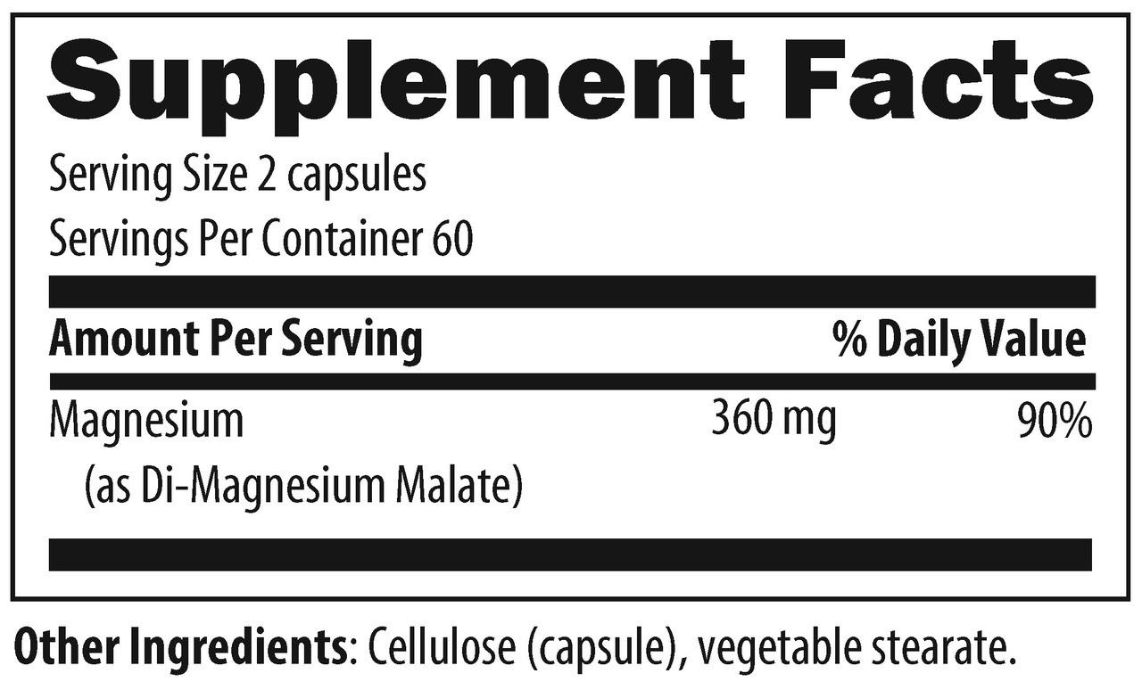 Designs For Health Magnesium Malate 120 veg caps ingredients
