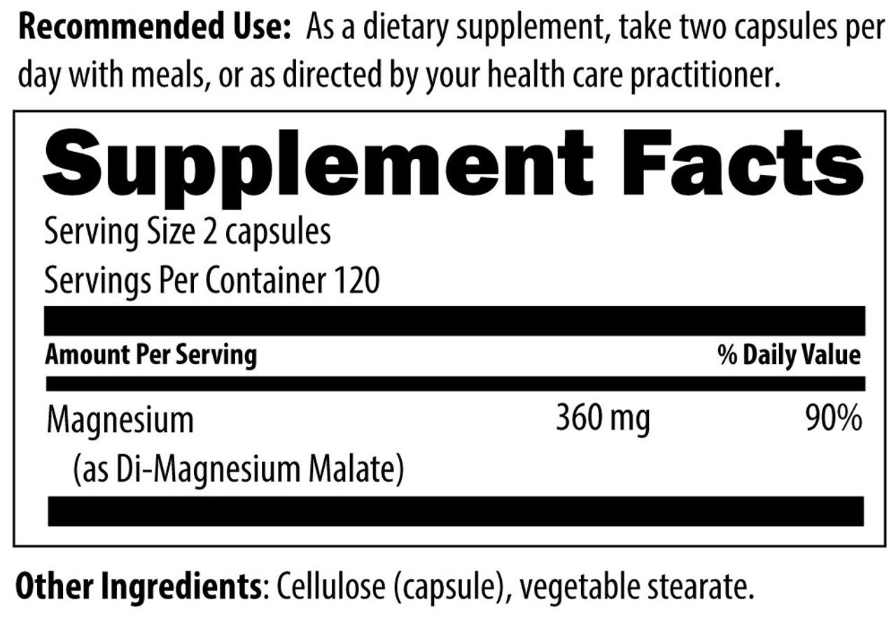 Designs For Health Magnesium Malate 240 veg caps ingredients