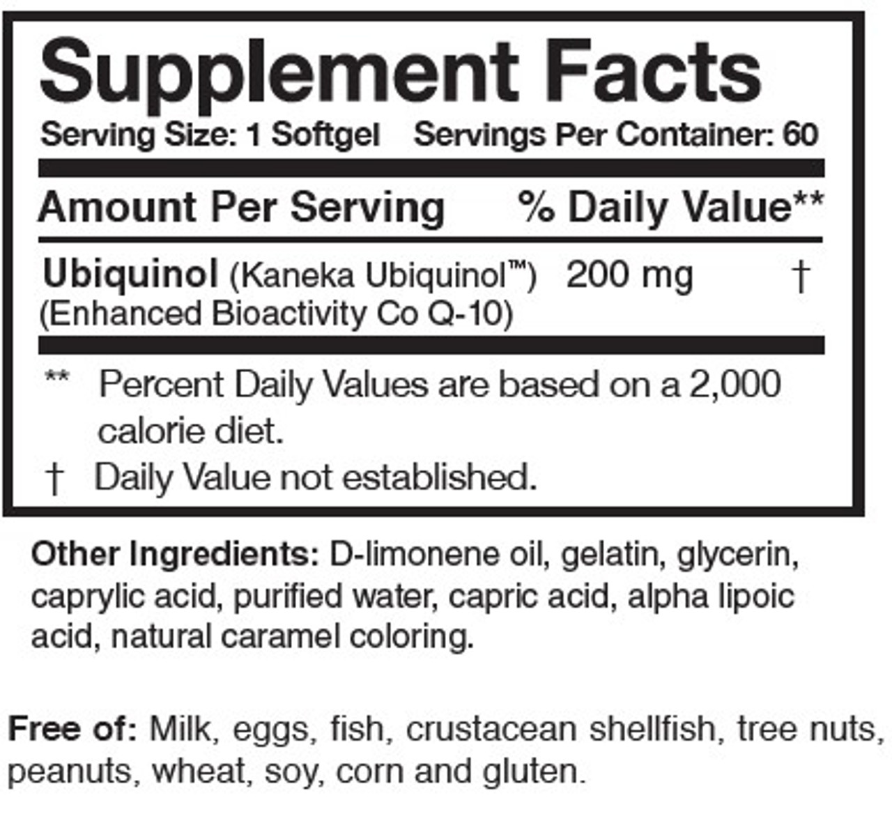 Researched Nutrtionals Ubiquinol Super 200 ingredients
