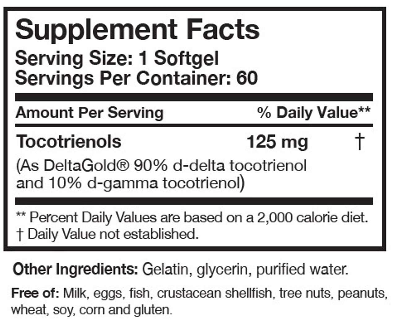 Researched Nutritionals TocoPure D&G High Potency Tocotrienols 60 softgels ingredients