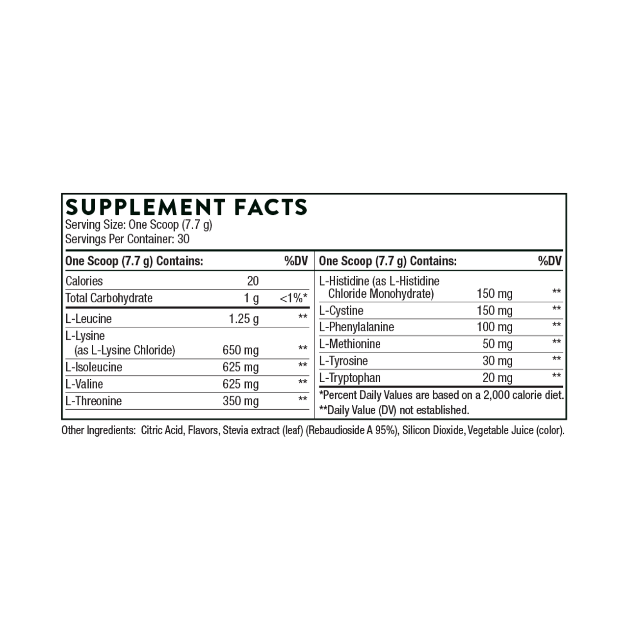 Thorne Research Amino Complex Berry 8.1 oz Supplement Facts