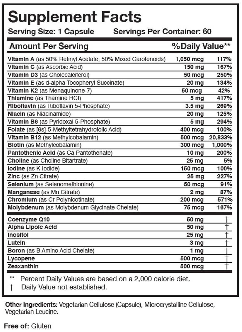 Researched Nutritionals Physician's Daily Multivitamin + D3 60 capsules ingredients