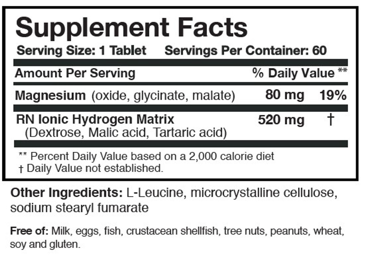 Researched Nutritionals | H2 Absorb Effervescent Antioxidant 60 tablets ingredients