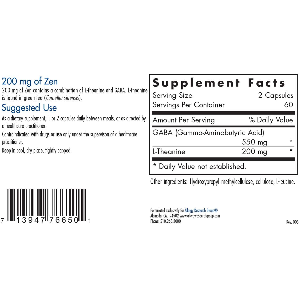 Allergy Research Group 200 mg of Zen 120 caps ingredients