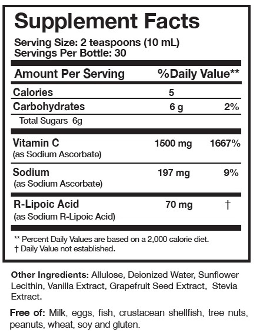 Researched Nutritionals C-RLA Vanilla Caramel – Liposomal Vitamin C (GMO Free) 10 fl oz ingredients