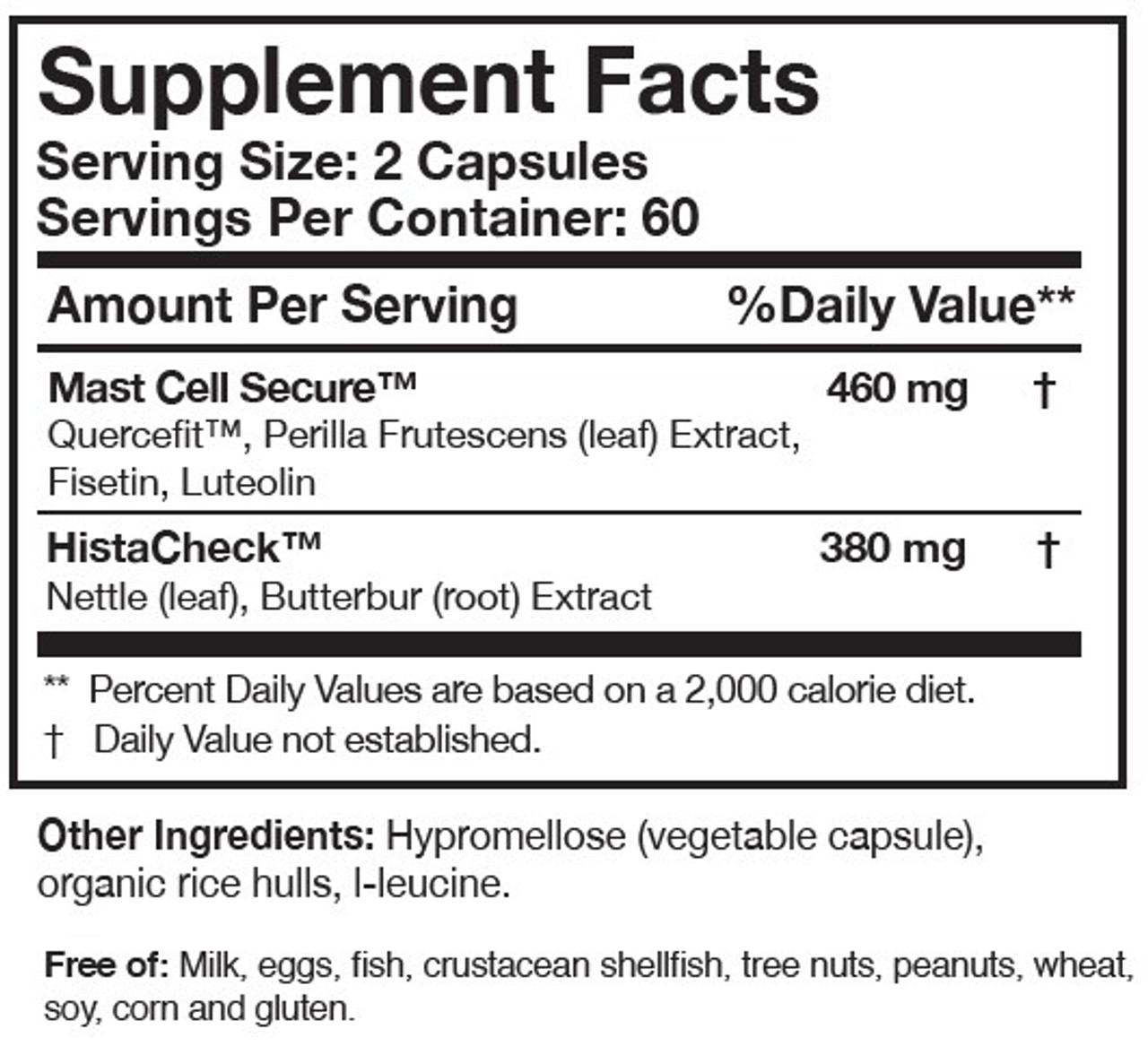 Researched Nutritionals HistaQuel 120 caps ingredients