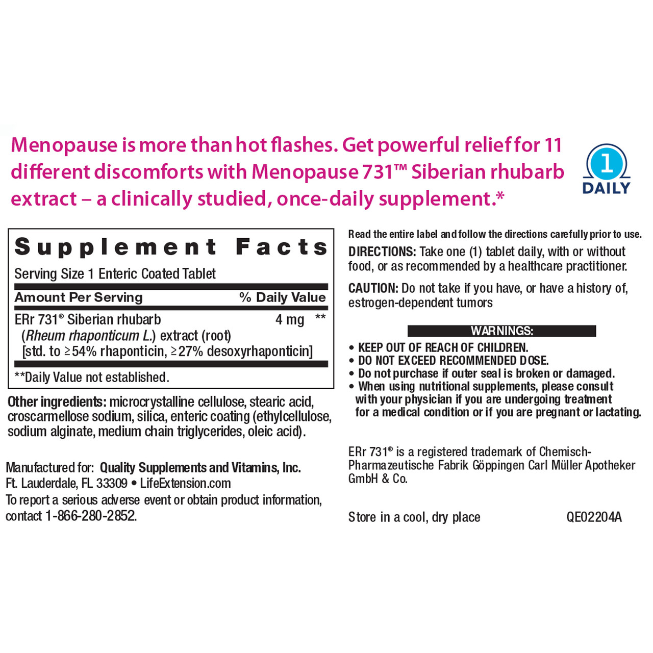 Life Extension Menopause731 30 tablets ingredients