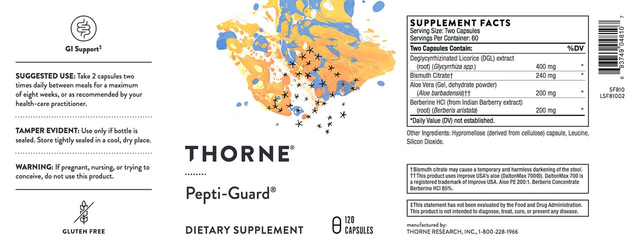 Thorne   Pepti-Guard 120 vegcaps label