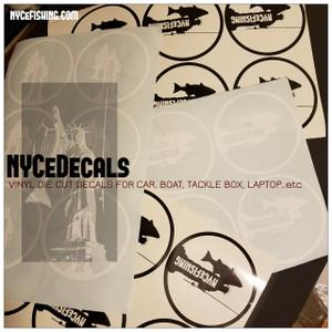 "NYCeFISHING LOGO (Circle) Die cut Vinyl decals 5"" X 5"""