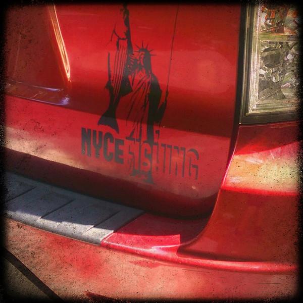 "NYCeFISHING LADY LIBERTY Vinyl Car Decal 10""x11"""