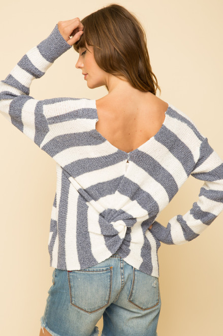 Mystree KNOTTED BACK STRIPE PULLOVER  17110 MLP