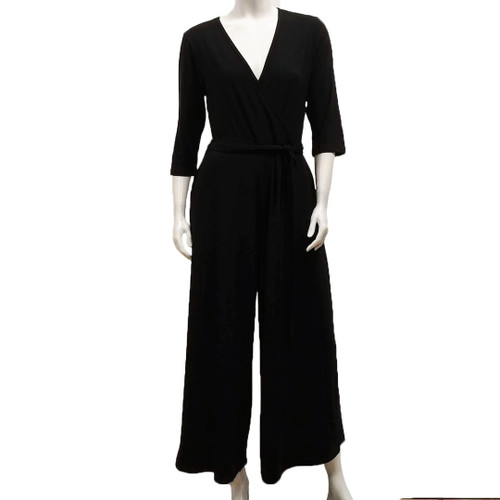 Bamboo 3/4 Sleeve Crossover Jumpsuit