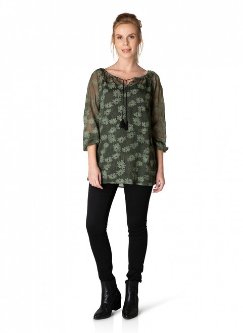 Yest Chiffon Olive Blouse 39630MLP