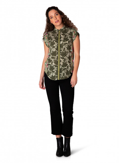Yest Olive Print Top 39307MLP
