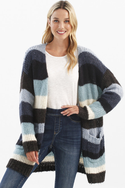 Charlie B Striped Cardigan with Pockets C2209 (30022)