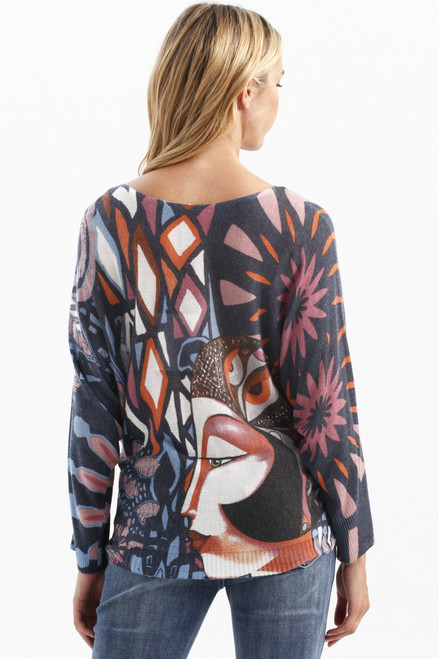 Charlie B Kimono Sleeve Printed Sweater C2308 (30022)