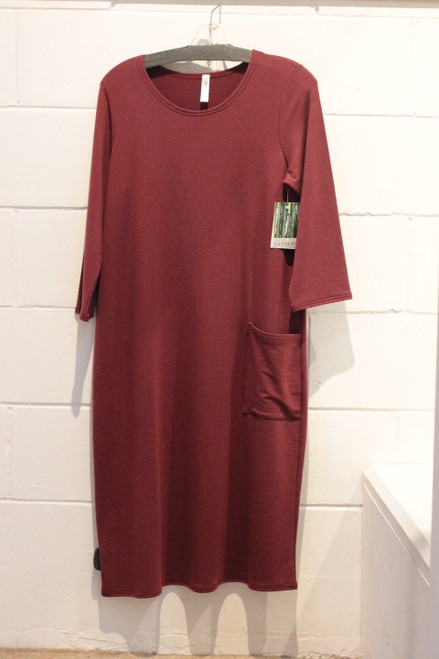 Bamboo French Terry Patch Pocket Dress (Merlot GILM BTD-3055)