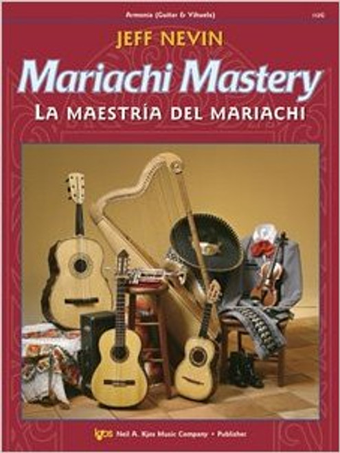 Mariachi Mastery features 12 classic mariachi tunes as well as a good deal of instructional material. Each song is preceded by exercises intended to help the student both improve in technique as well as learn the unique style of that song and mariachi in general. An accompaniment CD is included, which is invaluable for solo practice. The objective of this book is to have students sounding completely at home with the unique style by the end, and be able to blend in with a professional mariachi band. This book can easily be combined with books for other instruments, making a variety of ensembles possible. Guitar Book, with CD. Edited by Sanchez. Published by Neil A. Kjos Music Company. Difficulty: Apprentice Rating 2